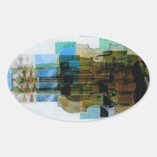 Composed Violin Trio Oval Sticker
