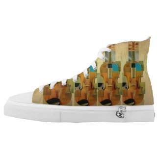 Composed Violins Wood Panel Look High-Top Sneakers