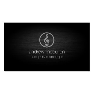 Composer Arranger Treble Clef Icon Brushed Metal Double-Sided Standard Business Cards (Pack Of 100)
