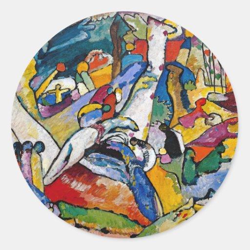 Composición 2 de Kandinsky Pegatina Redonda