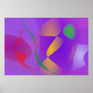 Composición abstracta púrpura póster