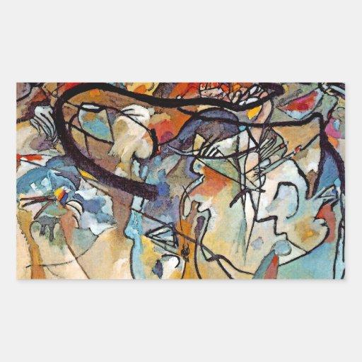 Composición cinco de Wassily Kandinsky Pegatina Rectangular
