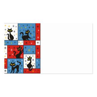 Composición con 5 gatos negros tarjetas de visita