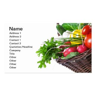 Composición con las verduras crudas tarjetas de visita