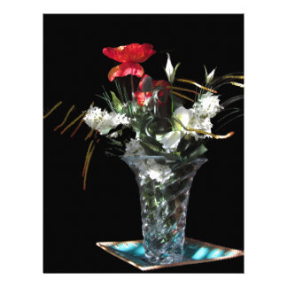 Composición de flores en fondo negro plantilla de membrete
