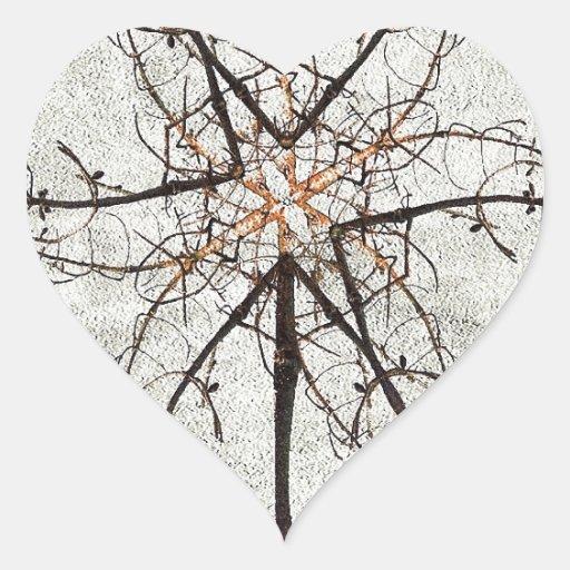 Composición de la flor del invierno pegatina en forma de corazón
