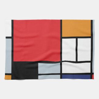 Composición de Mondrian con el avión rojo grande Toalla De Cocina