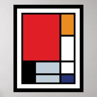 Composición de Mondrian con el avión rojo grande Póster