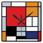Composición de Mondrian con el avión rojo grande Relojes De Pared