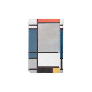Composición de Mondrian con rojo, azul, negro, Funda Para Libreta Y Libreta Pequeña Moleskine