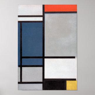 Composición de Mondrian con rojo, azul, negro, Póster