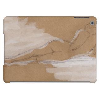 Composición desnuda femenina que miente en cama funda iPad air