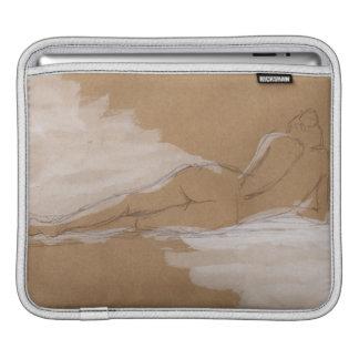 Composición desnuda femenina que miente en cama funda para iPads