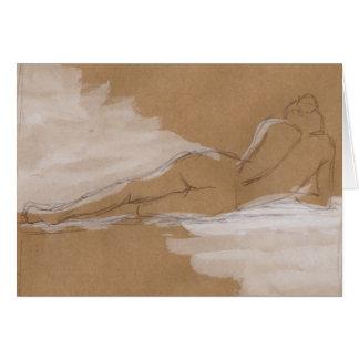 Composición desnuda femenina que miente en cama tarjeta de felicitación