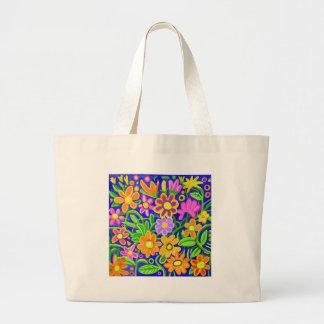 Composición floral pintada bolsa tela grande