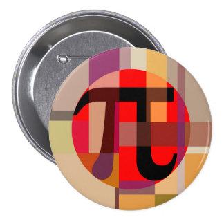 Composición moderna del pi, geométrica pin redondo de 3 pulgadas