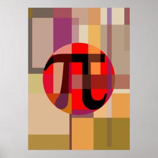 Composición moderna del pi, geométrica póster