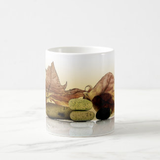 Composición otoñal del zen tazas de café