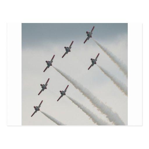 composición plana del airshow tarjetas postales