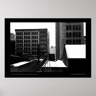 Composición urbana del invierno poster