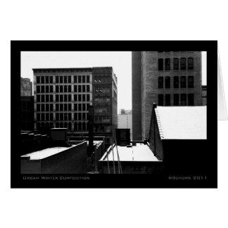 Composición urbana del invierno tarjeta de felicitación