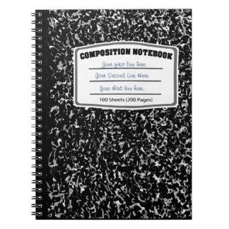 Composición veteada blanco y negro de la impresión libro de apuntes con espiral