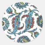 Composision floral turco antiguo pegatina redonda