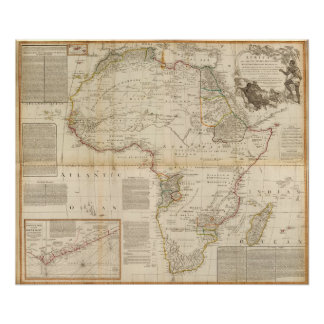 Composite Africa hand colored map Poster
