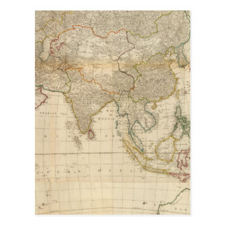 Composite Asia hand colored map Postcard