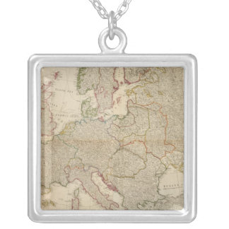 Composite Europe with statistical tables Silver Plated Necklace