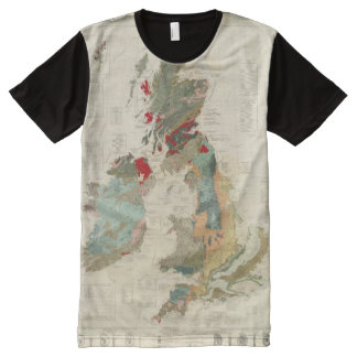 Composite Geological, palaeontological map All-Over Print T-shirt