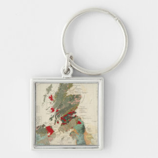Composite Geological, palaeontological map Silver-Colored Square Keychain