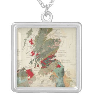 Composite Geological, palaeontological map Square Pendant Necklace