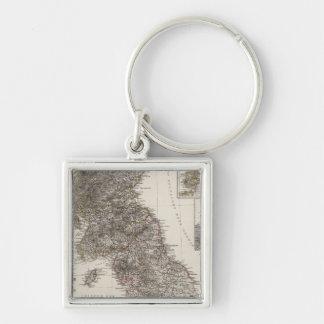Composite Great Britain Silver-Colored Square Keychain