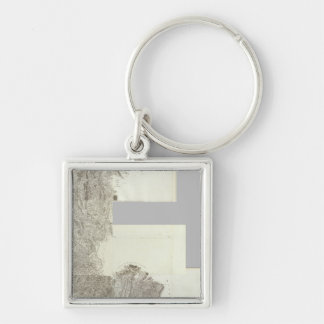 Composite Map of France 4 Silver-Colored Square Keychain