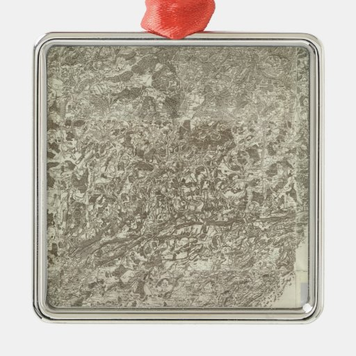 Composite Map of France 5 Square Metal Christmas Ornament