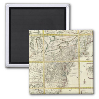 Composite map of United States 2 Inch Square Magnet