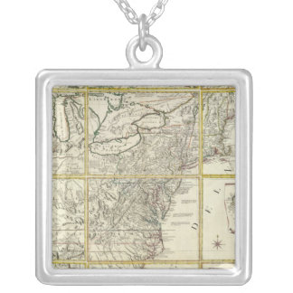 Composite map of United States Square Pendant Necklace