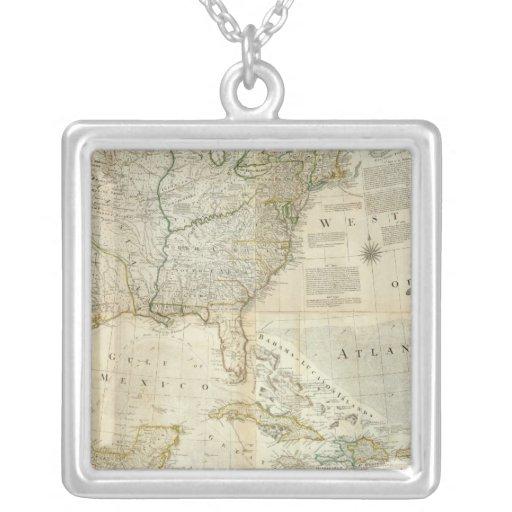 Composite North America Square Pendant Necklace