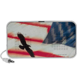 Composite of eagle flying and American flag iPod Speaker