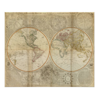 Composite World hand colored map Poster