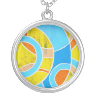 Composition #23 by Michael Moffa Round Pendant Necklace