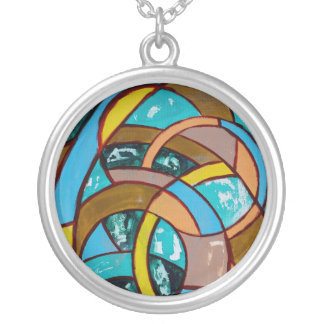 Composition #8 by Michael Moffa Round Pendant Necklace