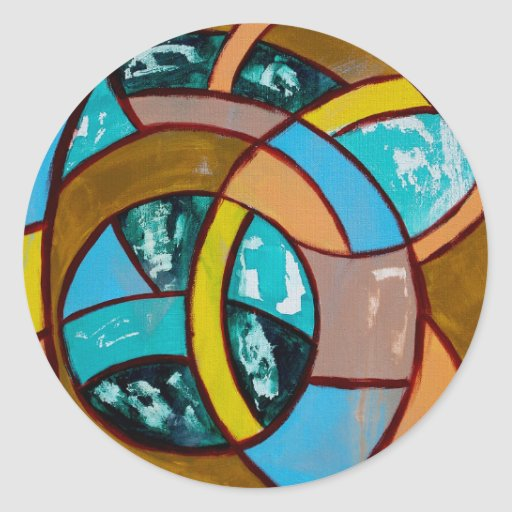 Composition #8 by Michael Moffa Round Stickers