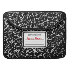Composition Book | Black & White Sleeve For Macbook Pro at Zazzle