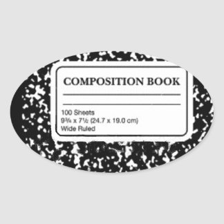 Composition Book Oval Sticker