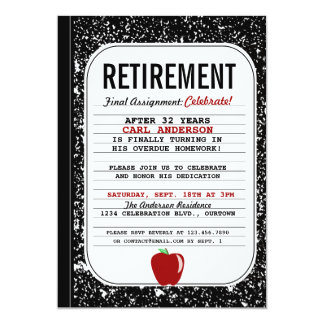 Composition Book Retirement Party Invitation