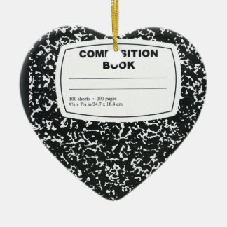 Composition Book Student Teacher Double-Sided Heart Ceramic Christmas Ornament