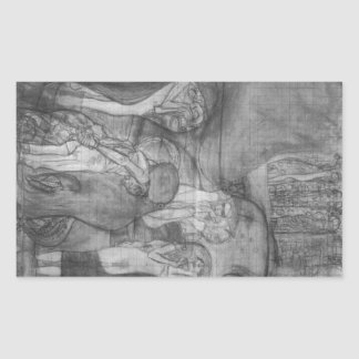 Composition draft of the law faculty image - Klimt Rectangular Sticker