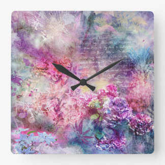 Composition in Pastel Square Wall Clock